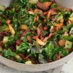 swiss chard with bacon in a bowl