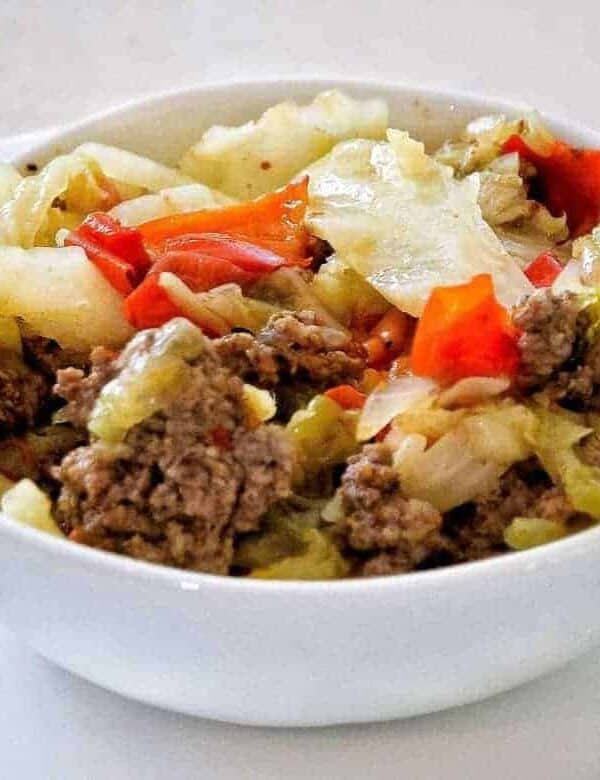 Pressure Cooker Low Carb Ground BeefShawarma with vegetables is an easy, delicious,low carb one-pot meal for your Instant Pot that is flavorful, and super family-friendly. Overhead shot of shawarma in white bowl.