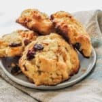 Use a little dried fruit and Carbquick to make a cross between scones and muffins that are sure to satisfy your sweet craving. These low carb scones scuffins are light, moist, and tasty.