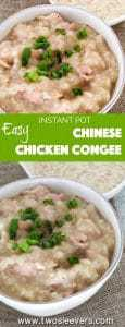Simple and easy Hong Kong Style Instant Pot Chicken Congee is such a comforting dish on a cold day--or really any day at all. A few simple ingredients in your pressure cooker and you have a jook recipe that you can personalize and vary to your heart's content.