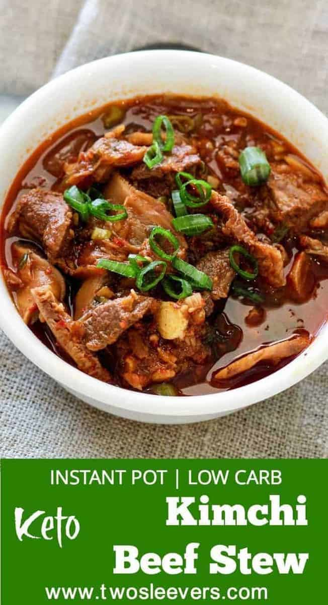 Instant Pot Pressure Cooker Low carb Kimchi Beef stew is an easy Korean-style dump and cook keto low carb recipe that's full of spicy, umami flavor. Guaranteed to perk up your taste buds, and taste like you slaved for hours to get this complex taste.