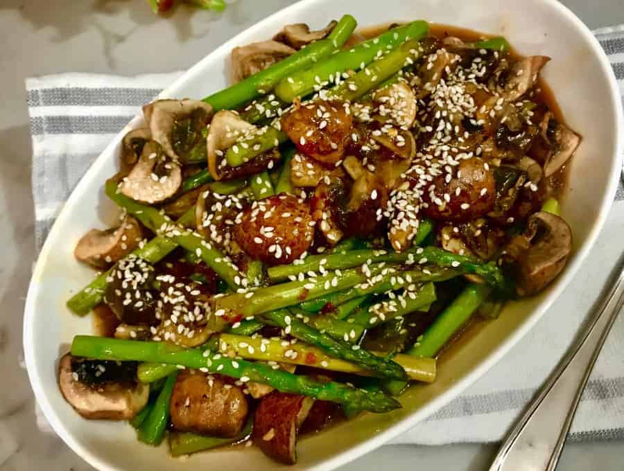A Plate of Asparagus and Mushroom Stir Fry.