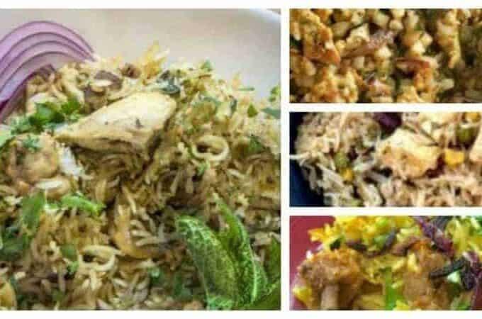 how to make chicken biryani in your pressure cooker or instant pot. four pictures of chicken birhani, lamb biryani, paneer biryani, and low carb chicken biryani