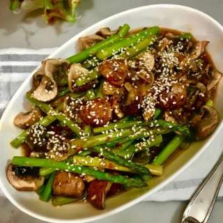 15 minute Keto Asparagus and Mushroom Stir Fry