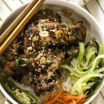 Vietnamese grilled pork thit nuong overhead view
