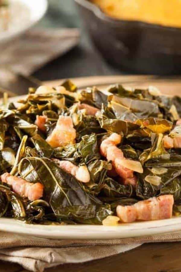 Collard Greens with Bacon on a white dish