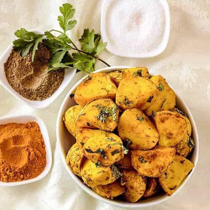 These Amchoor Potatoes recipe will rock your world with their combination of tart and spice. Use your Air Fryer to make these perfectly crispy, with very little oil, and in no time at all.