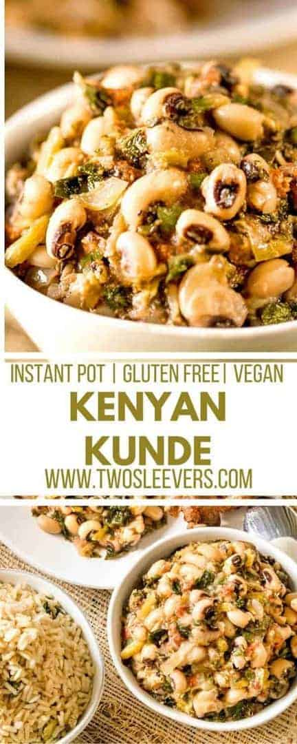 This Instant Pot Kenyan Kunde is a nutritious recipe with black-eyed peas and peanuts that makes a yummy, filling vegan recipe in your pressure cooker. Start with dry beans and have dinner ready in under 30 minutes!