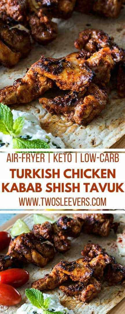 Tavuk Shish | Turkish Chicken | Chicken Kababs | Turkish Dinner | Air Fryer Dinner | Air Fryer Appetizer | Low Carb Appetizer | Two Sleevers #ketoappetizer #airfryerrecipe #lowcarbappetizer
