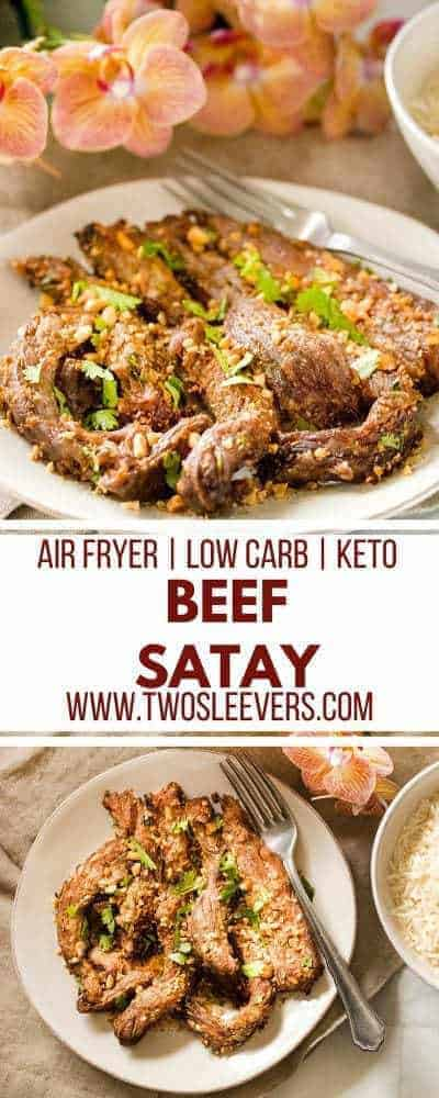 Beef Satay | Air Fryer Beef Satay | Air Fryer Recipes | Low Carb Recipes | Keto Recipes | Beef Recipes | High Protein Recipes | Two Sleevers | #twosleevers #beefsatay #airfryer #lowcarb #keto