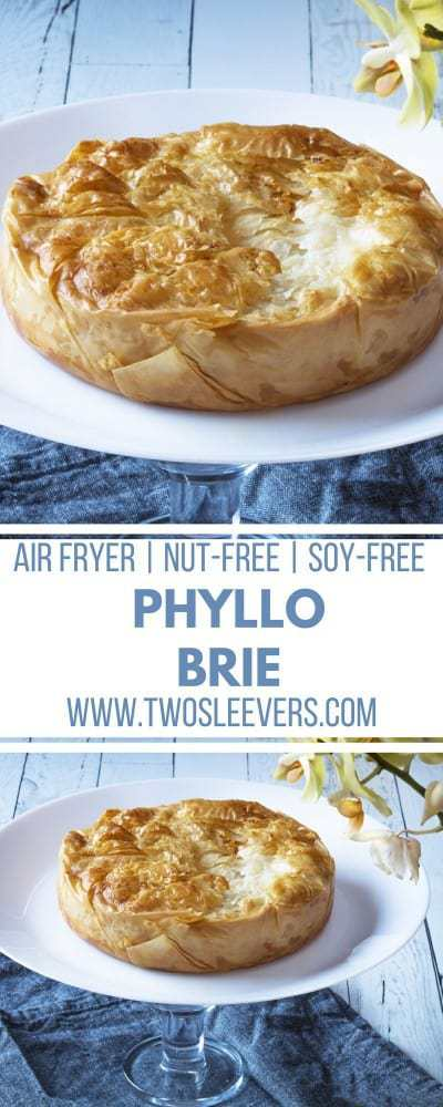 Air Fried Phyllo Brie | Baked Brie | Brie Recipe | Air Fried Appetizer | Air Fried Snack | Air Fried Cheese | Two Sleevers #airfriedrecipe #airfried #bakedbrie