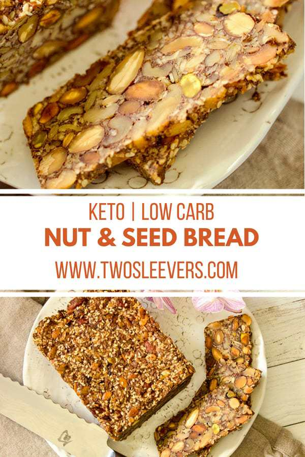 Keto seed bread| Nordic Stone Age bread | Keto bread recipes| Gluten-free Bread recipe| It's hard to believe how delicious this stupid simple recipe for a Keto nut and seed bread is. Mix a variety of nuts and seeds together with a little egg and oil, bake, and soon you'll be cutting out delicious slices of this keto bread to eat with lots of butter. It's vegetarian, gluten-free, yeast free, and so very filling and hearty, it's hard to overeat this bread.