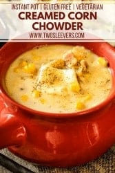 Creamed Corn Chowder in a red soup bowl