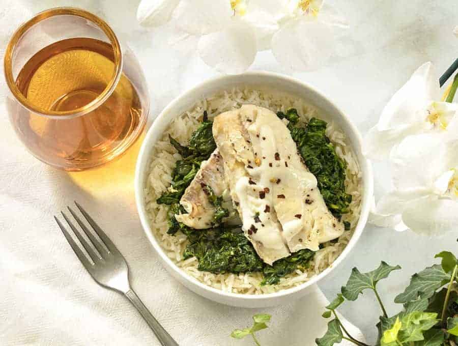 Haddock with spinach and Rice overhead view