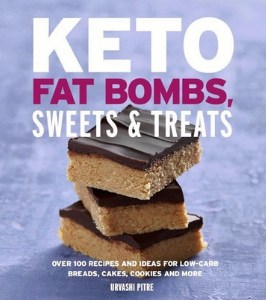 Cover of a cookbook titled Keto Fat Bombs, Sweets and Treats.