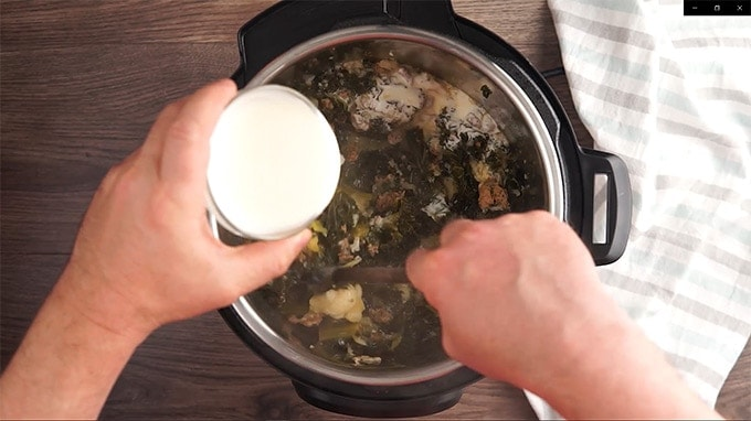 Instant Pot Italian Sausage and Kale Soup Adding Whipping Cream