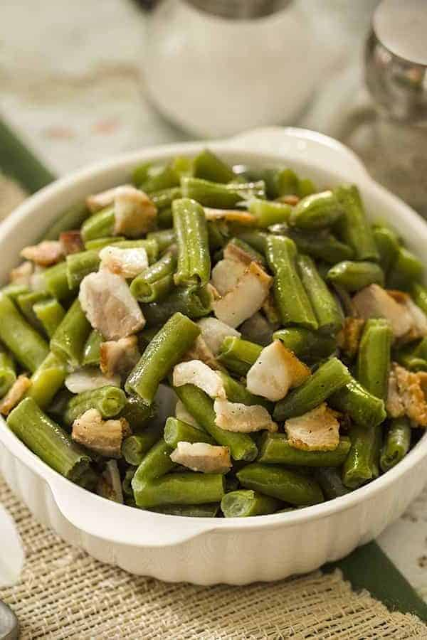 Air Fried Green Beans and Bacon