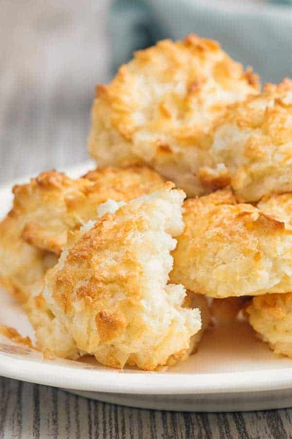 Keto Coconut Macaroons with a bite taken out