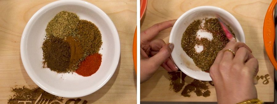 Spices in a white bowl
