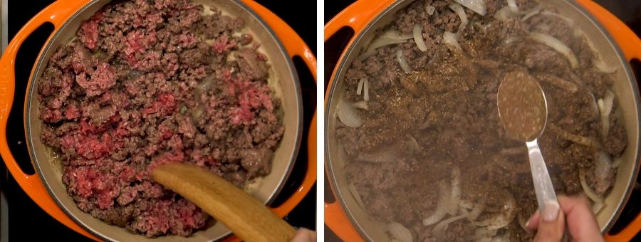 beef cooking in a pan