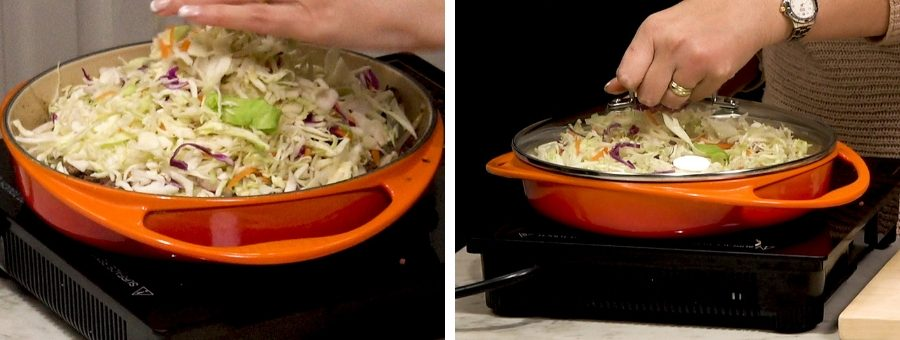 cabbage mix being added to a pan