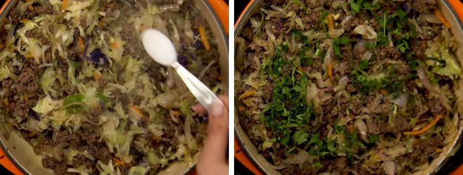steamed cabbage and cooked beef being stirred in a pan