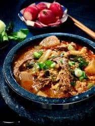 korean yukgaejang in stone bowl overhead shot