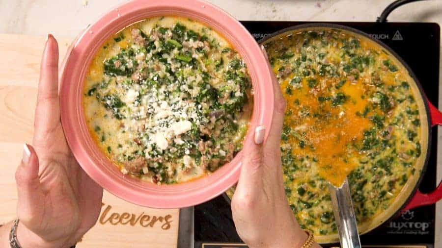Overhead shot of finished soup
