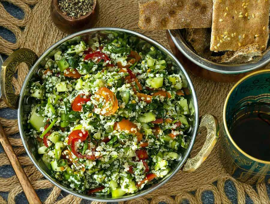 overhead shot of tabouli in a round bowl