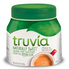 Container of Truvia Sweetener.