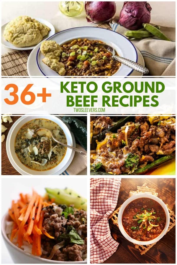 5 popular Keto ground beef recipes shown in a collage.