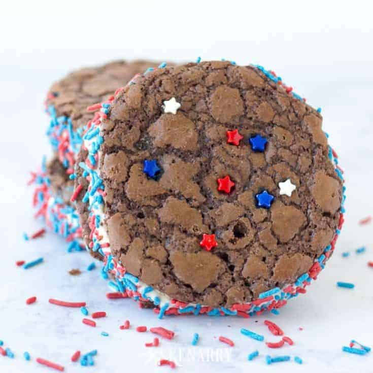 Brownie Ice Cream Sandwich: Easy Patriotic Dessert