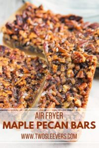 These Maple Pecan Bars are topped with Sea Salt and made in the Air Fryer! The crust has a flaky and buttery crust combined with a nutty and sweet maple flavor for the filling. These bars will give you that pecan pie bite, but made in half the time it takes to roll out the crust for a traditional pie.