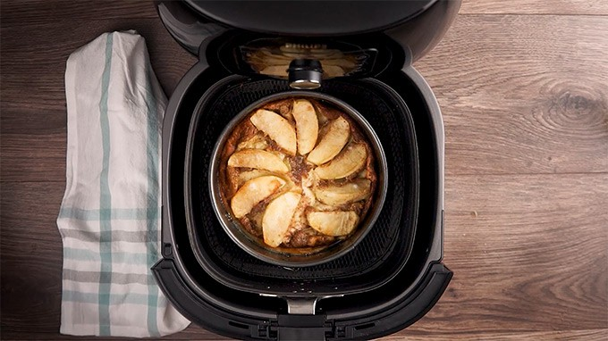 Apples baked in an air fryer for German Apple Pancakes