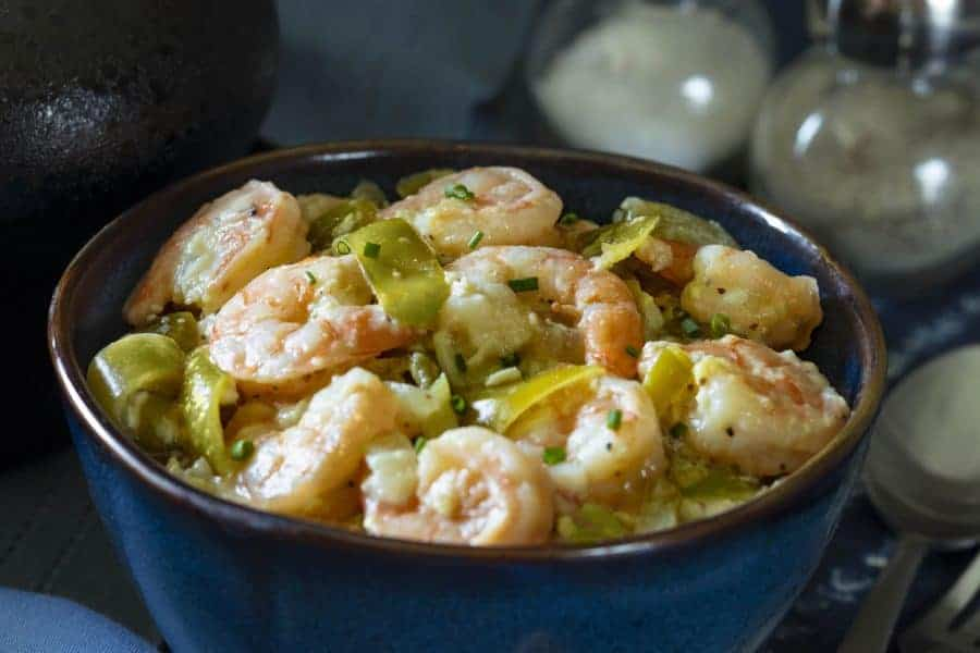 Close up of Shrimp with Cotija and Tomatillos.
