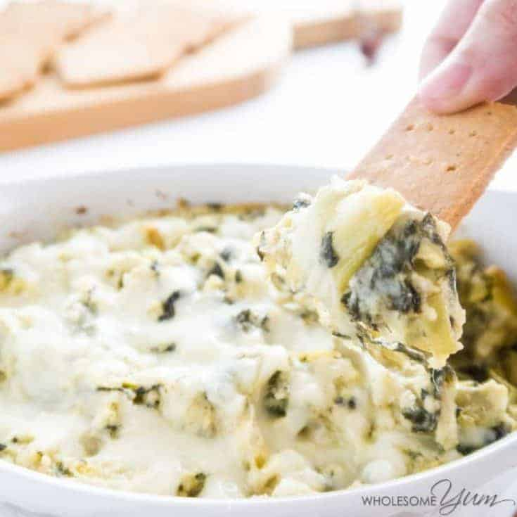 Low Carb Spinach Artichoke Dip Recipe (Keto, Gluten-free)