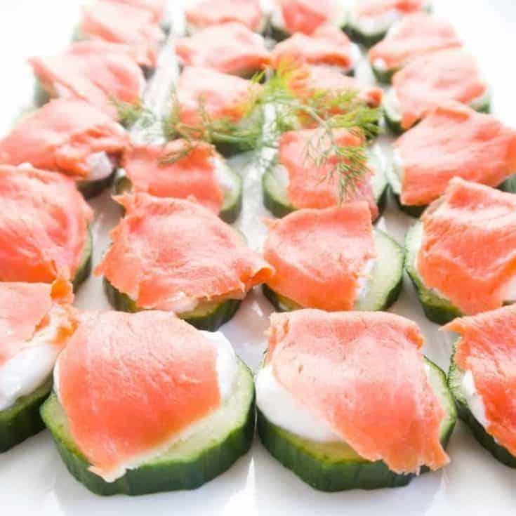 Smoked Salmon Platter Cucumber Bites (Low Carb, Gluten-free)