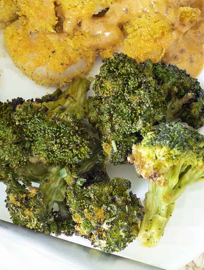 Overhead shot of the cooked sesame ginger broccoli on a plate.