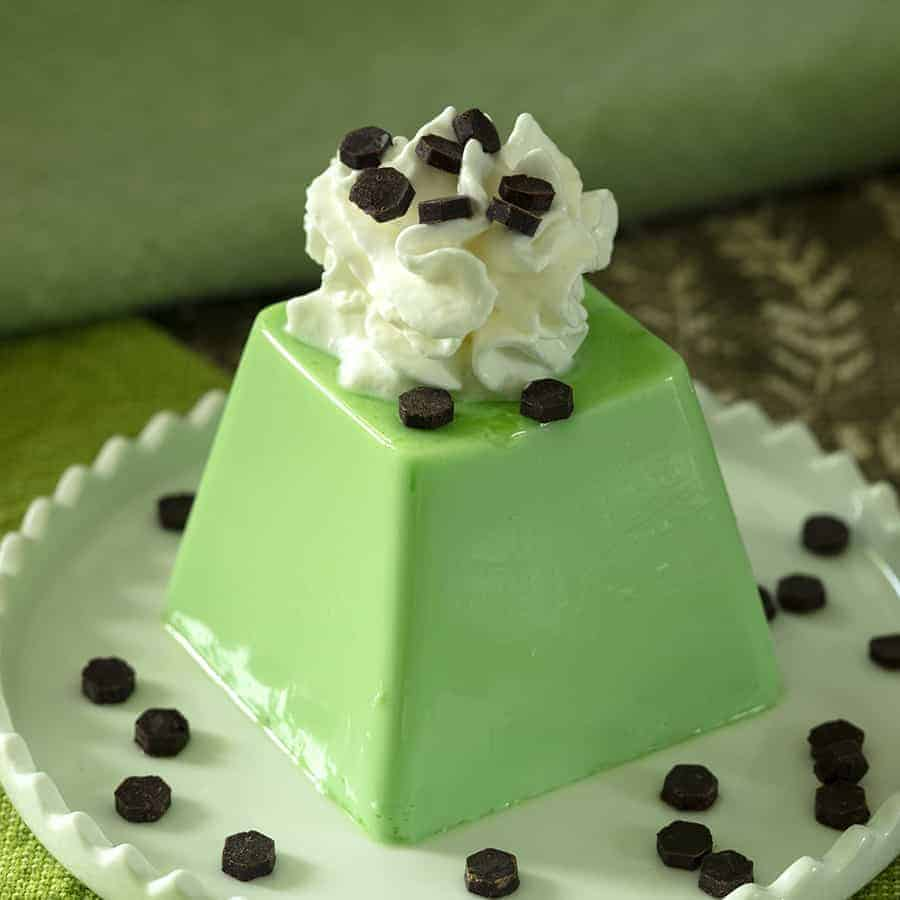 Coconut Pandan or Panna Cotta served on a white plate with keto chocolate chips