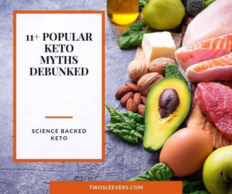 Assorted foods with the title 11+ Popular Keto Myths Debunked.