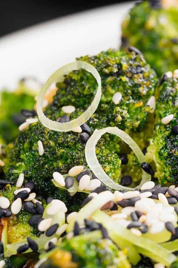 Air Fryer Sesame Ginger Broccoli with white and black sesame seeds.
