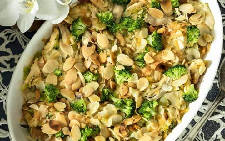 Chicken Broccoli Casserole Overhead Shot
