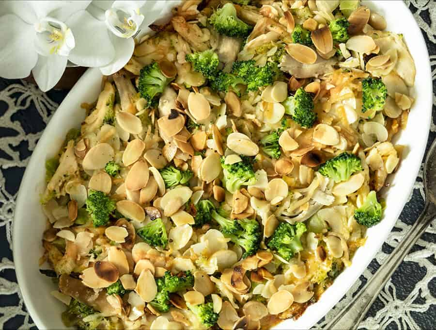 Chicken Broccoli Casserole Overhead Shot
