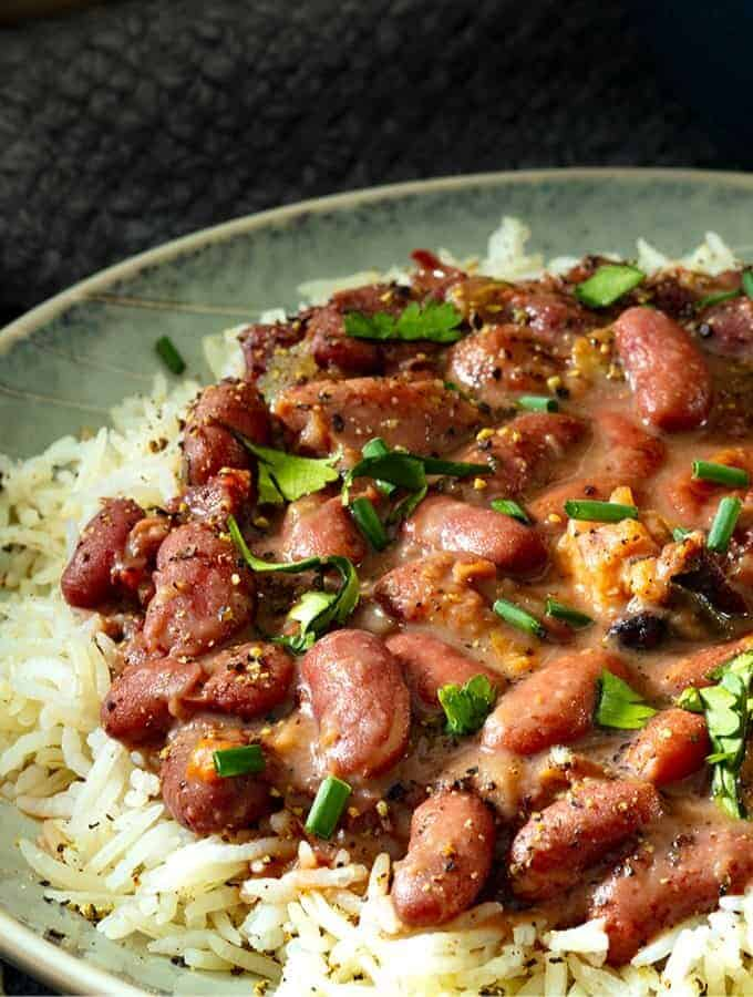 A dish of Instant Pot Red Beans and Rice.
