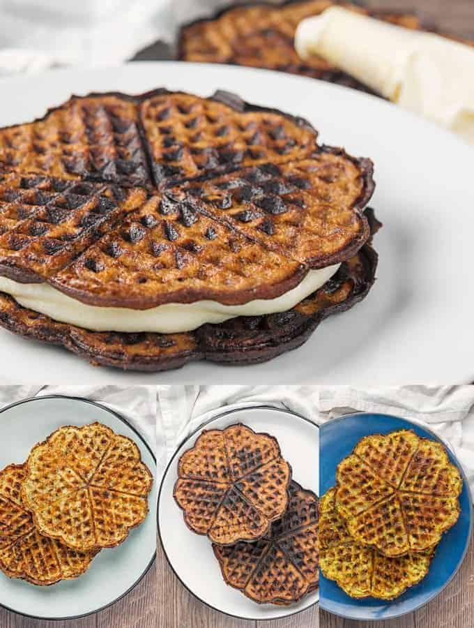 four different keto chaffle recipes