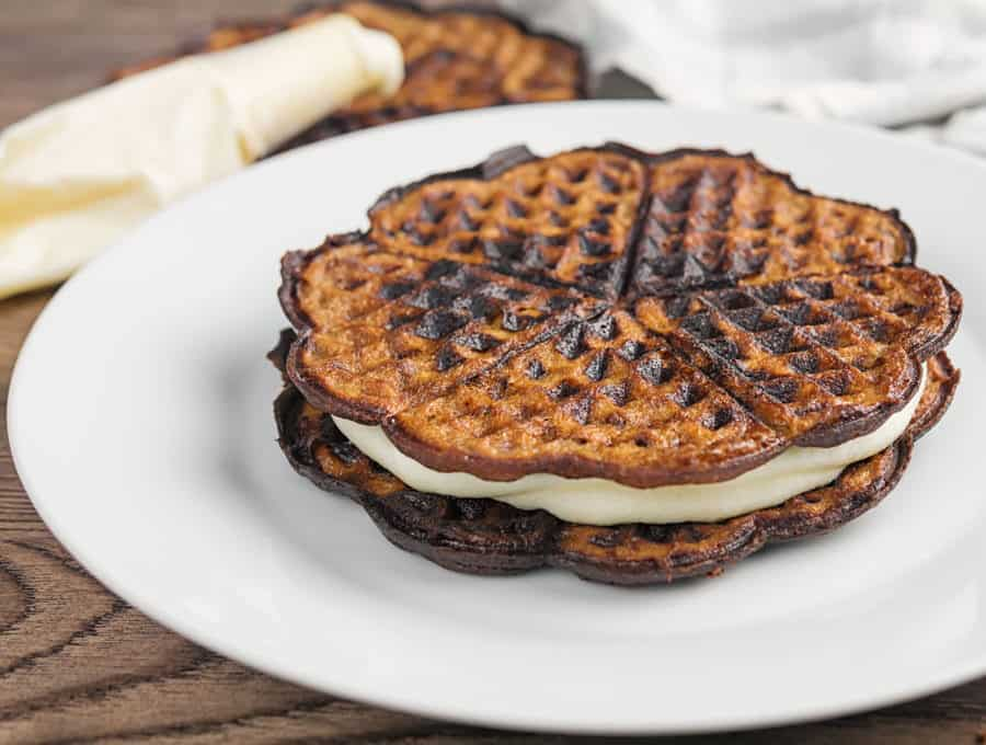 Keto chocolate oreo chaffle on a white plate