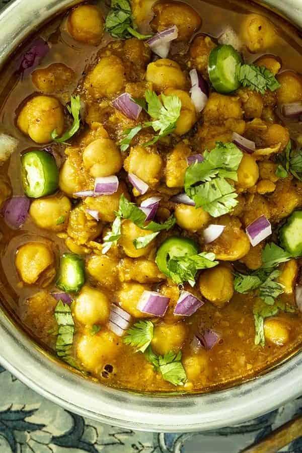 chana masala in bowl overhead view
