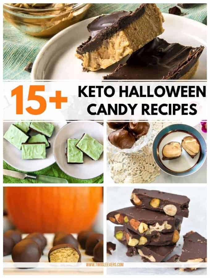 Plates of different desserts titled 15+ Keto Halloween Candy Recipes.