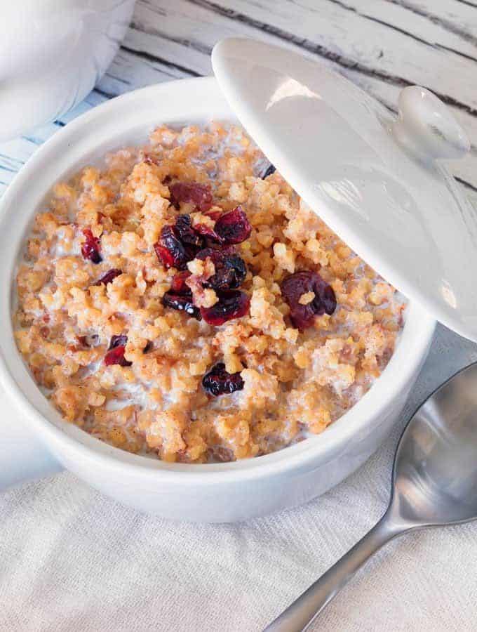 A bowl of Instant Pot Cranberry Kasha Pilaf.