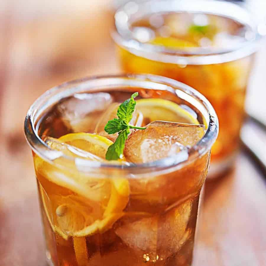 Two glasses of Iced Tea with mint.